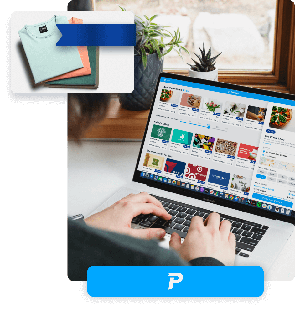 A person shopping for electronic gift cards on Prizeout's platform